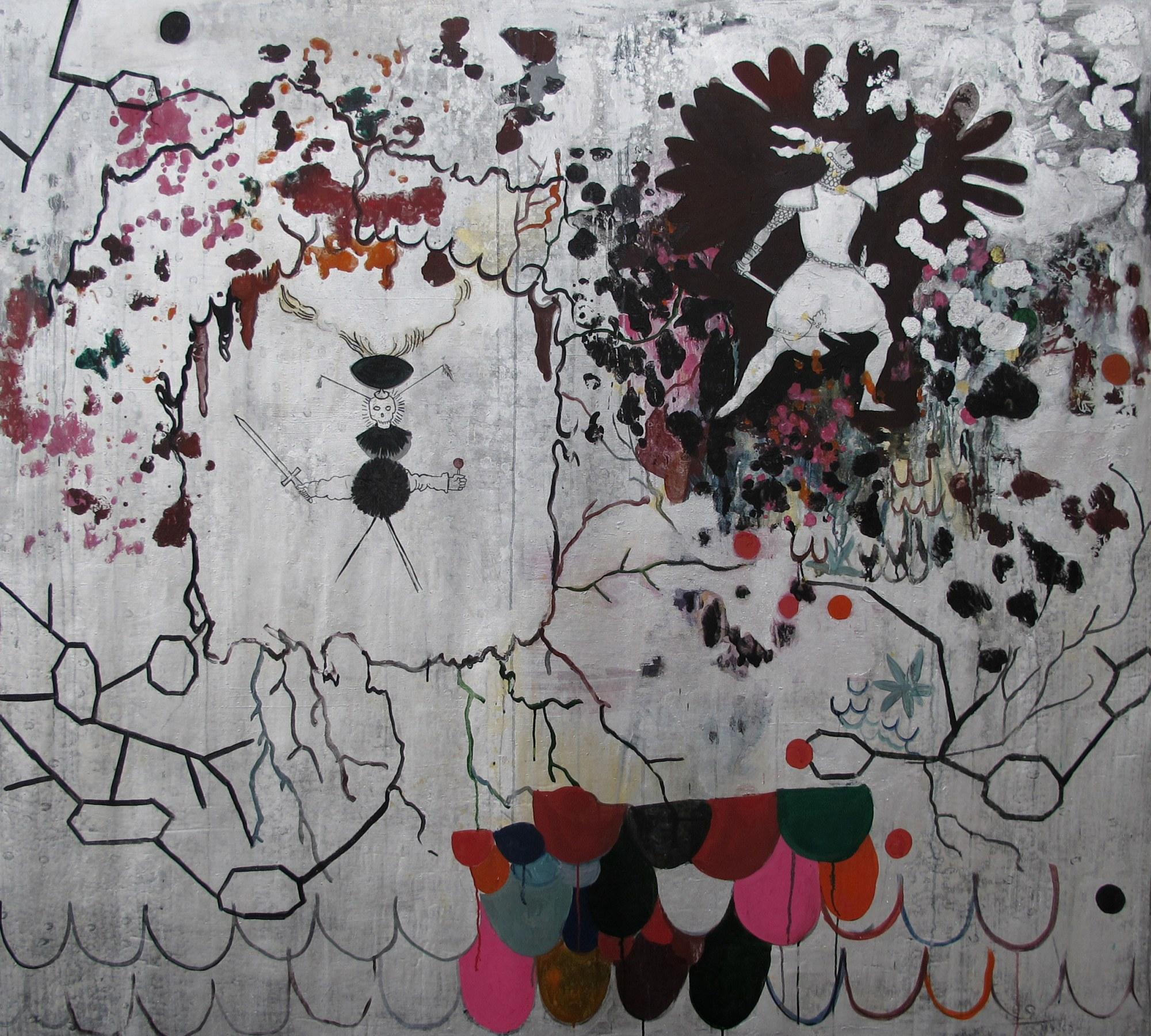 © Hélène Delprat Chanson de geste pleine de héros épiques qui forcent l'admiration, 2013, Pigments et liant acrylique, crayon de couleur et gouache sur toile, 160 x 180 cm, Adagp, Paris, 2021, Courtesy de l'artiste et de la Galerie Christophe Gaillard